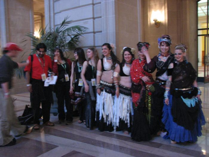 bad pic of some of bellyqueen, fat chance and Evil Eye Tribal inside of City Hall at Love Fest.  Do you know of any other bellydance show in City Hall? Did we just make bellydance hERstory?