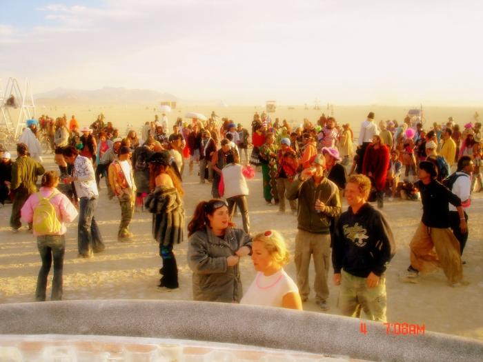 this pic at sunrise in the O-Pod (dj booth) look at all the people still dancing!