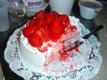 Cake # 1: strawberry custard cake (already half eaten)