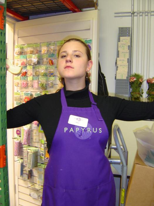 My Co-worker Jenny w/ the Papyrus apron on