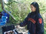 Karen grillin up her famous chicken