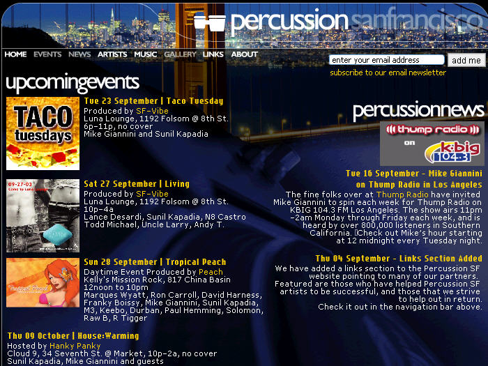 Percussion SF - talented DJ friends of mine with regular residencies all throughout San Francisco