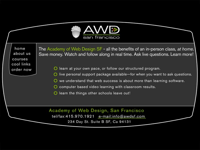 recommended web design course - AWDSF: Academy of Web Design SF