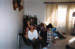 Fatima, Sheena, and Karen sqeezing in one chair